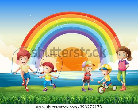 Diverse Children Under Rainbow Vector Illustration 177512771