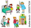 children in different situations related to health and medicine - stock vector