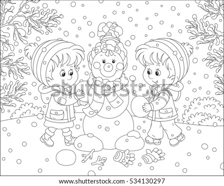 Children making a Christmas snowman