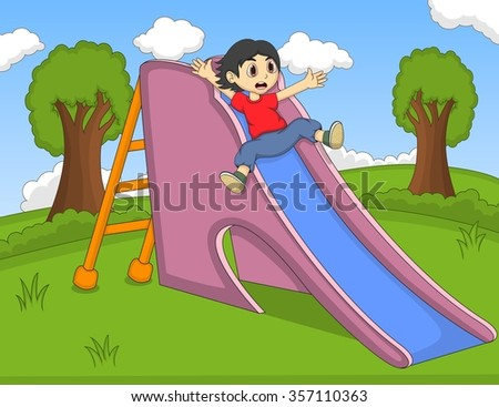 children playing slide at the park cartoon vector illustration