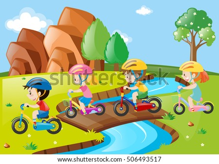 Children riding bicycle over the bridge illustration