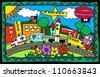 children's artwork of a city scene with trucks, buildings, flowers - stock vector