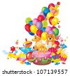 Children's birthday: toys, birthday cake, balloons, gift boxes, and  Frame for your text congratulations - stock vector