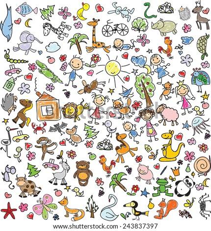 Big marine set vector illustration on stock vector - Animal drawwing kids ...