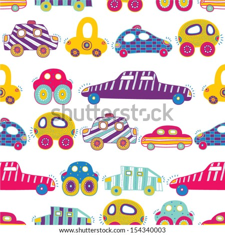 Children's seamless vector pattern-with their toy cars.  	 Children's seamless vector pattern-with their toy cars.