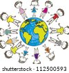 children with planet over white background. vector illustration - stock vector