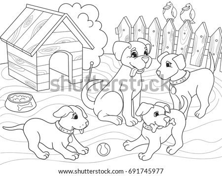 Childrens Coloring Book Cartoon Family On Nature Mom Dog And Puppies Children For Adults