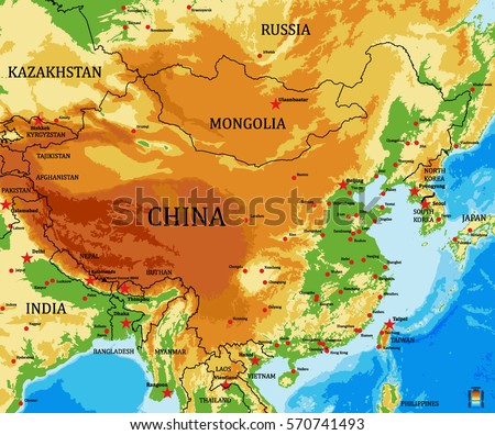 Spain physical map stock vector 579235876 shutterstock china physical vector map with main cities and bathymetry gumiabroncs Gallery