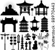 Chinese Asian Temple Building Architecture Design Elements - stock vector