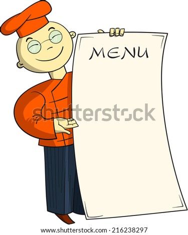 Chinese cook holding menu