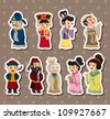 chinese people stickers - stock vector