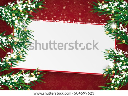 Chrhistmas card with board, twigs and snow on the red background with ornaments. Eps 10 vector file.