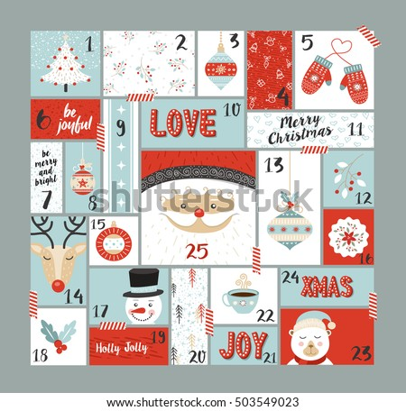 Christmas advent calendar, cute holiday season decoration xmas day celebration. EPS10 vector.