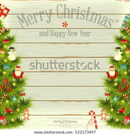 Christmas and New Year Card. Decorated Christmas Tree on Vintage White Wooden Background. Place for Text. Vector illustration.