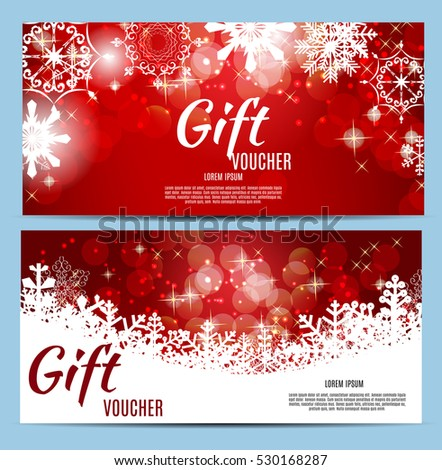 Christmas and New Year Gift Voucher, Discount Coupon Template Vector Illustration EPS10