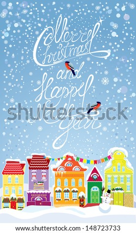 ... background with decorative colorful houses in winter time. - stock