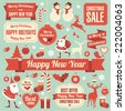 Christmas and new year retro vector design element collection. - stock