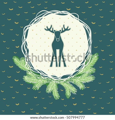 Christmas and New Year round frame with deer symbol. Doodle illustration greeting card.