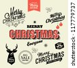 Christmas and New Year symbols for postcard, invitation, poster and others  Decoration collection | Set of calligraphic and typographic elements, frames, vintage labels. - stock vector