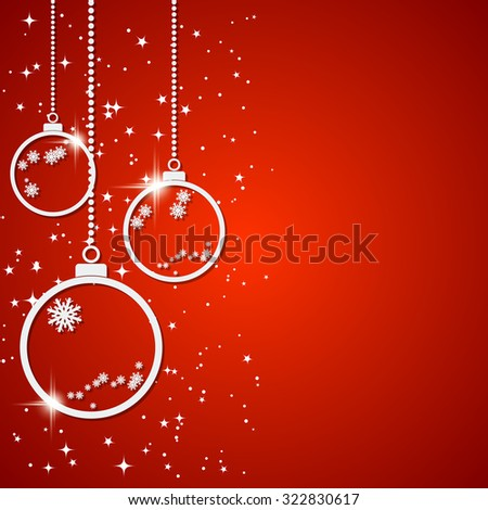Christmas and New Year vector background with white paper balls, stars and snowflakes. Greeting or invitation card template.