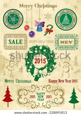 Christmas and New Year.  Vintage set of design elements.