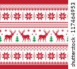 Christmas and Winter knitted seamless pattern or card with deer - scandynavian style - stock vector