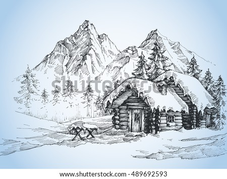 Christmas background, house in the snow landscape