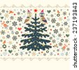 Christmas background, seamless horizontally border. Xmas tree, owls, birds, stars, bells, hearts and snowflakes. Vector design. - stock vector