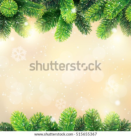 Christmas background with fir border. Vector illustration.