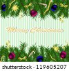 christmas background with firtree, toys and ornaments - stock vector