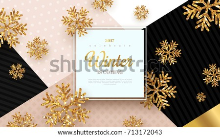 Merry Christmas Background Gold Black Fir Stock Vector ...