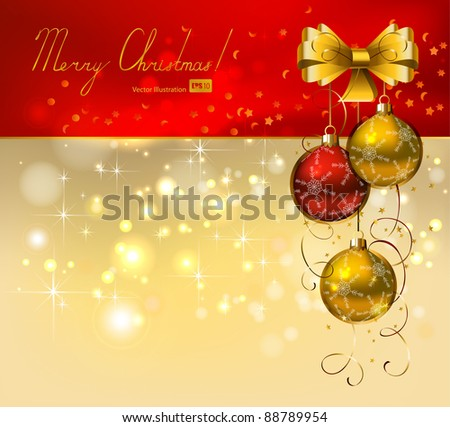 Christmas background with red and gold evening balls
