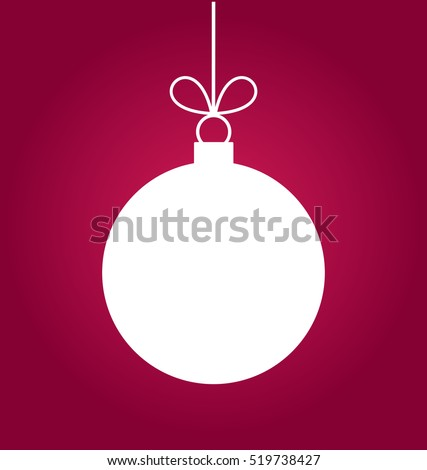 Christmas ball white ornament on purple background illustration
