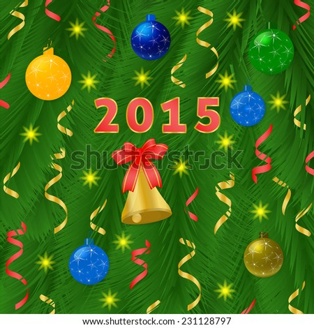 Christmas balls with pine and bell on green tree background