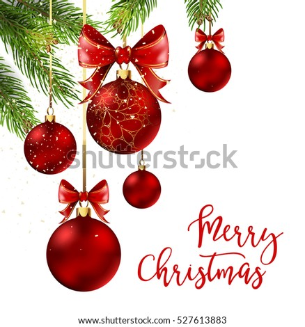 Christmas balls with red ribbon and bows on white background. Vector Illustration.