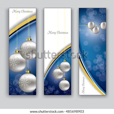 Christmas Banners or Bookmarks. Set of Blue Sparkly Designs.