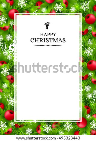Christmas banners with fir branches, holly leaves, red berries and glowing snowflakes. Winter holiday poster with decorations and greeting text. Vertical vector illustration.