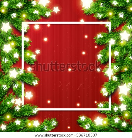 Christmas border Card design. Happy new year xmas with Glowing star Lights