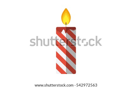 Christmas candle flat vector icon