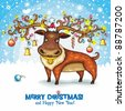Christmas Card.  North Deer, wearing Santa cap, decorated with Holiday lights and Christmas Ornaments. Cute Santa helper standing outside in the snow. Merry Christmas!!!! - stock vector