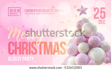 Christmas card or flyer template with pink christmas tree made in gentle colors. Vector illustration