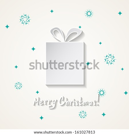 Christmas card with a snow and a gift box