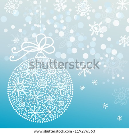 christmas card with ball and snowflakes