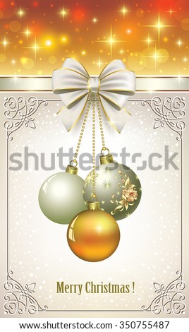 Christmas card with balls in a frame