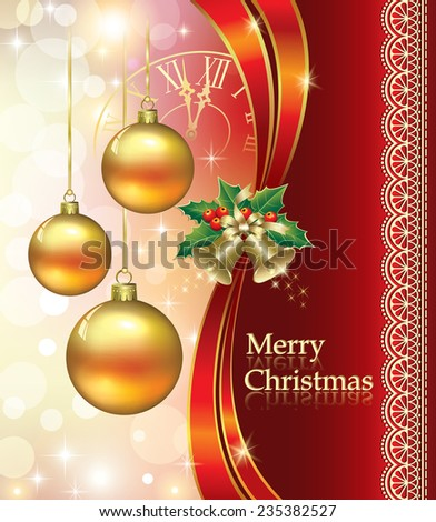 Christmas card with bells and balls