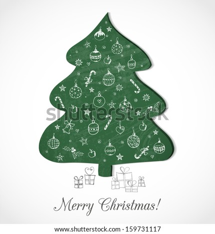 Christmas card with blackboard Christmas tree and hand-drawn decorations on it. Vector illustration. Xmas card.