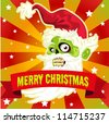 Christmas card with funny Santa zombie head - stock photo