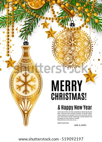 Christmas card with golden ornamental xmas balls, stars and pearls. Garland made from fir branches, yellow berries, cinnamon, orange, pearls. Vector.