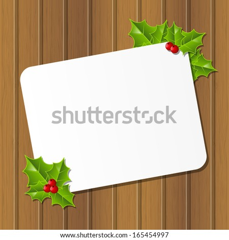 Christmas card with holly leaves