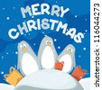 Christmas card with penguins - stock photo